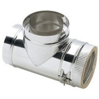 """6"""" Stainless Steel Twin Wall Flue 90° Tee"""